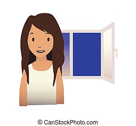 A young girl stands next to an open window. Vector illustration isolated on white background.