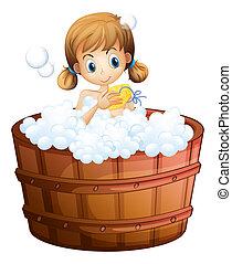 A young girl taking a bath at the bathtub