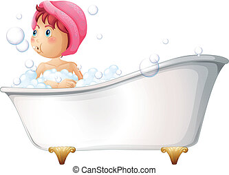 A young girl taking a bath - Illustration of a young girl...