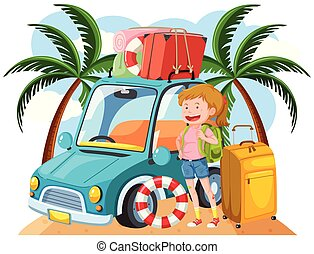 A Young Girl Travel to the Beach