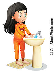 A young girl washing her hands