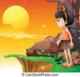 A young girl watching the fullmoon at the cliff