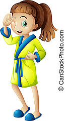 A young girl wearing a bathrobe - Illustration of a young ...