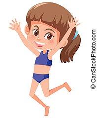 A young girl wearing bikini