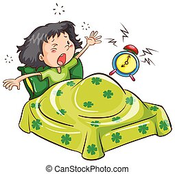 A young girl with an alarm clock