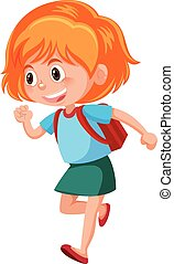 A young girl with backpack