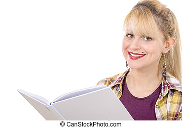 young girl with book isolated on a white background