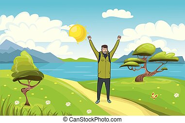 A young happy man, backpacker with raised hands on the seaside. Hiker, Explorer. A symbol of success. Vector Illustration.