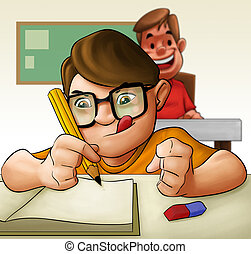 hard student - a young hard student doing his examination