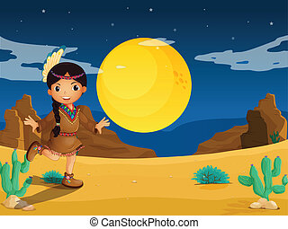 A young Indian girl at the desert