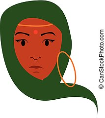 A young Indian lady has covered her head with green saree and has worn golden ornaments vector color drawing or illustration