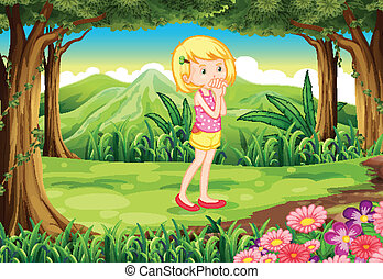 A young lady at the forest