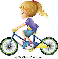 A young lady biking