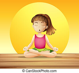 A young lady doing yoga - Illustration of a young lady doing...