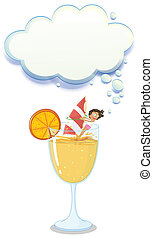 A young lady enjoying above the big glass with a lemonade