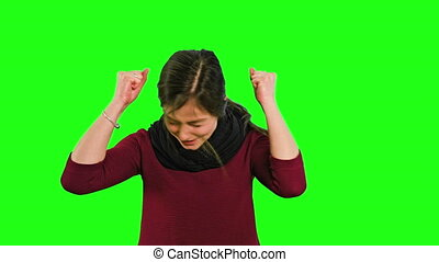 A Young Lady Furious - A young lady shaking her head in fury...