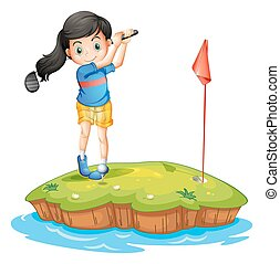A young lady golfing