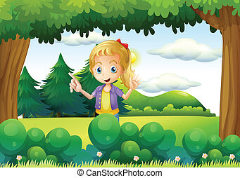 A young lady in the farm - Illustration of a young lady in...