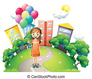 A young lady in the middle of the road with balloons