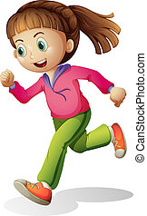 A young lady jogging - Illustration of a young lady jogging...
