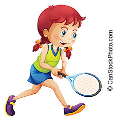 A young lady playing tennis - Illustration of a young lady...