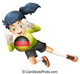 A young lady using the ball with the flag of Germany