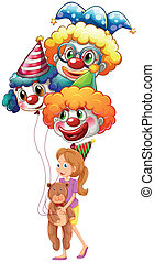 A young lady with clown balloons and a teddy bear