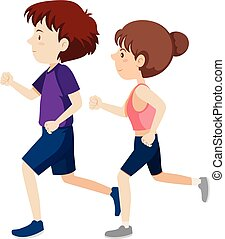 A young man and woman running