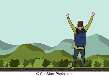 A young man, back view of backpacker with raised hands in a hilly area. Hiker, Explorer. A symbol of success. Vector Illustration with copy space.