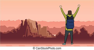 A young man, back view of backpacker with raised hands in mountain landscape. Hiker, Explorer. A symbol of success. Vector Illustration with copy space.