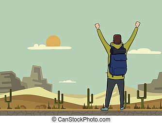 A young man, back view of backpacker with raised hands in the desert. Hiker, Explorer. A symbol of success. Vector Illustration with copy space.