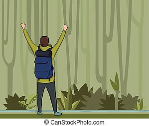 A young man, back view of backpacker with raised hands in the jungle forest. Hiker, Explorer, mountaineer. A symbol of success. Vector Illustration with copy space.