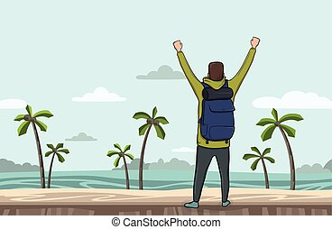 A young man, back view of backpacker with raised hands on the sea beach. Hiker, Explorer. A symbol of success. Vector Illustration with copy space.