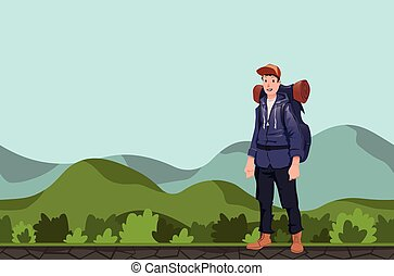A young man, backpacker in a hilly area. Hiker, Explorer. Vector Illustration with copy space.