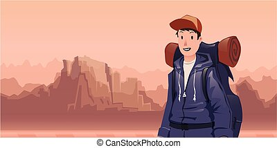 A young man, backpacker in mountain landscape. Hiker, Explorer. Vector Illustration with copy space.