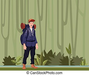 A young man, backpacker in the jungle forest. Hiker, Explorer. Vector Illustration with copy space.
