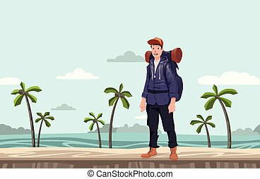 A young man, backpacker on the sea beach. Hiker, Explorer. Vector Illustration with copy space.