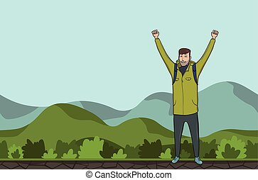 A young man, backpacker with raised hands in a hilly area. Hiker, Explorer. A symbol of success. Vector Illustration with copy space.