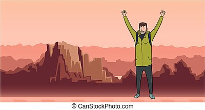 A young man, backpacker with raised hands in mountain landscape. Hiker, Explorer. A symbol of success. Vector Illustration with copy space.
