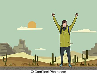 A young man, backpacker with raised hands in the desert. Hiker, Explorer. A symbol of success. Vector Illustration with copy space.
