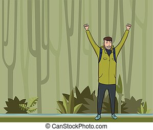 A young man, backpacker with raised hands in the jungle forest. Hiker, Explorer, mountaineer. A symbol of success. Vector Illustration with copy space.