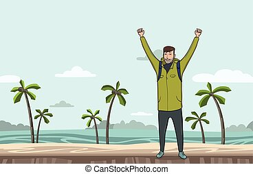 A young man, backpacker with raised hands on the sea beach. Hiker, Explorer. A symbol of success. Vector Illustration with copy space.