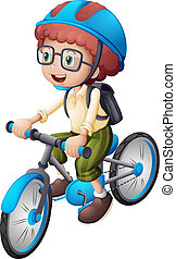 A young man biking - Illustration of a young man biking on a...