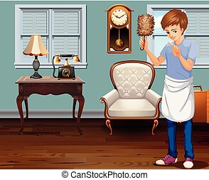 A Young Man Cleaning House