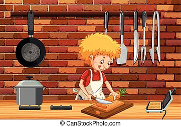 A Young Man Cooking in Kitchen