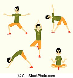 Set of different male poses from yoga.