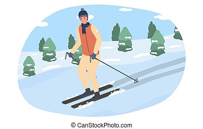 A young man goes down the mountain on skis