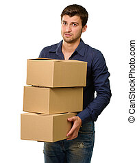 A Young Man Holding A Stack Of Cardboard Boxes