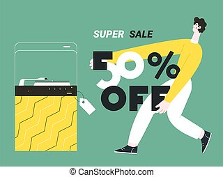 a young man holds a super discount poster