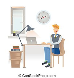 A young man in casual clothes is sitting at the workplace in office with a laptop. Vector illustration, isolated on white.